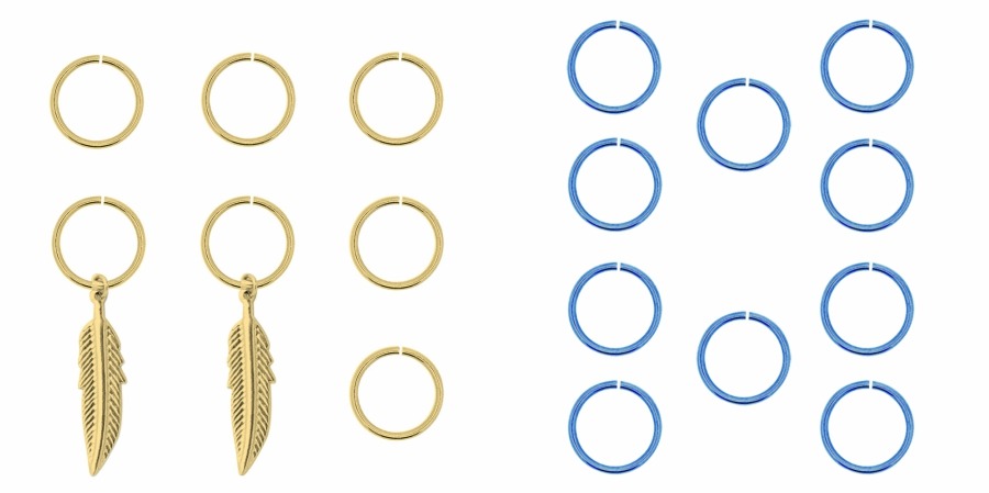 Gold and blue hair rings