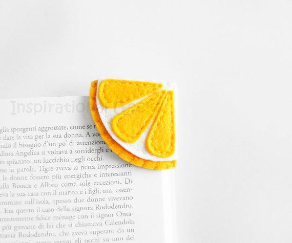 Lemon wedge bookmark from Etsy
