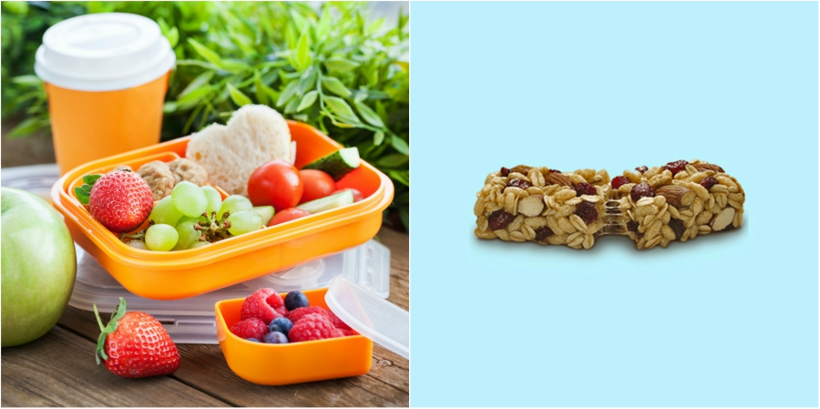 A healthy prepared lunch, and a granola bar