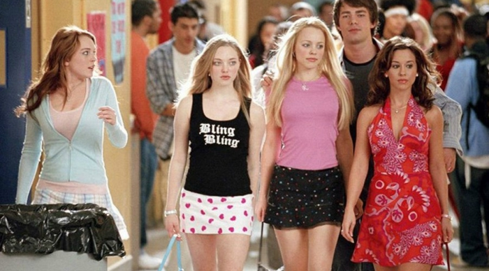 Mean Girls movie walking through the hallway