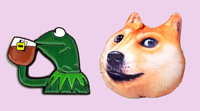 "Kermit ""None of my business"" meme pin and doge head pillow"