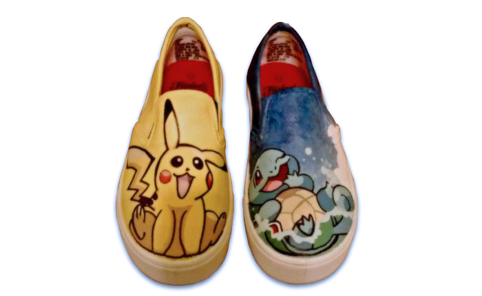 Hand-drawn Pokémon Vans with Pikachu and Squirtle