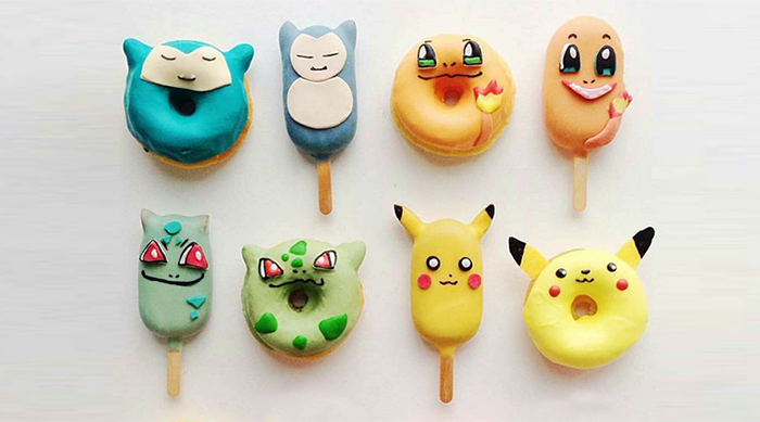 Pokemon Food: Snorlax, Charmander, Bulbasaur and Pikachu donuts and ice cream bars