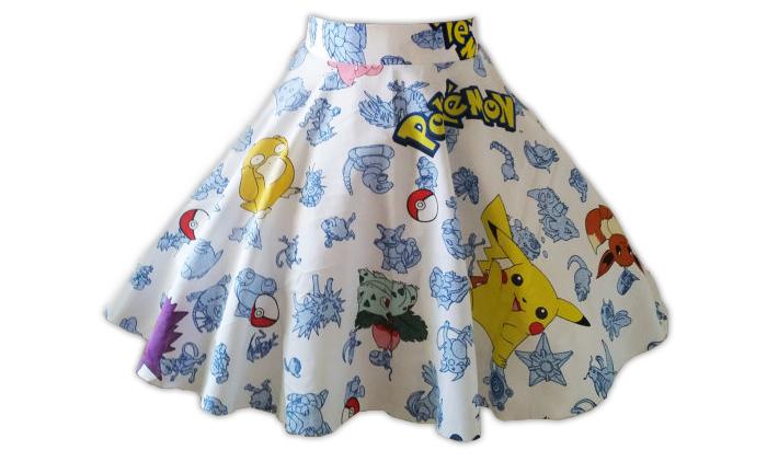 White Pokémon print skirt