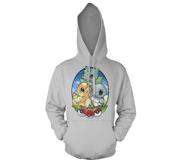 Great Pokémon hoodie with starters: Charmander, Bulbasaur and Squirtle