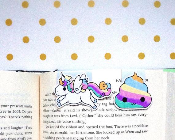 Rainbow unicorn bookmark from Etsy