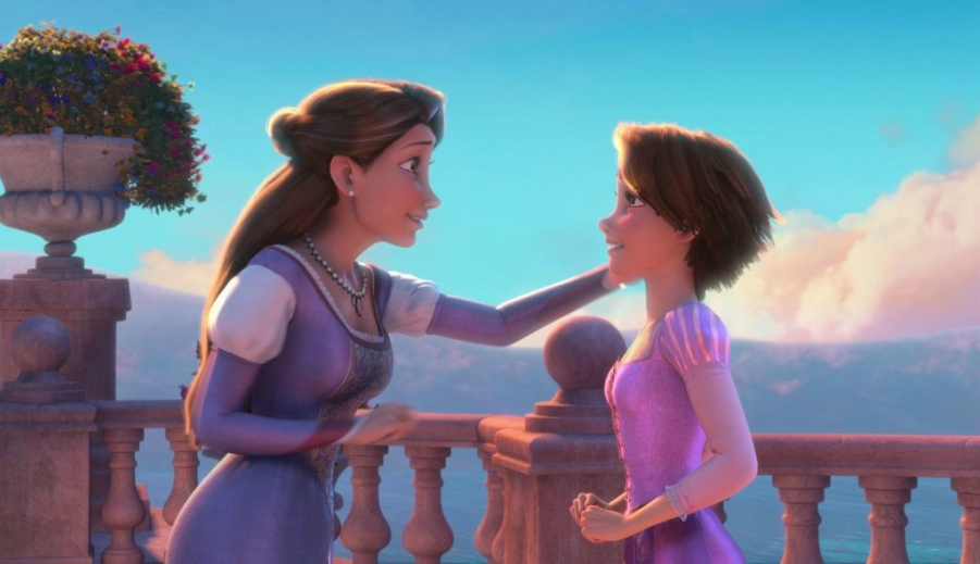 Rapunzel and her mother at the end of Tangled