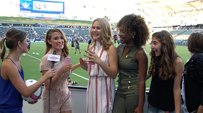 The cast of Amazon's The Kicks at Los Angeles Galaxy stadium