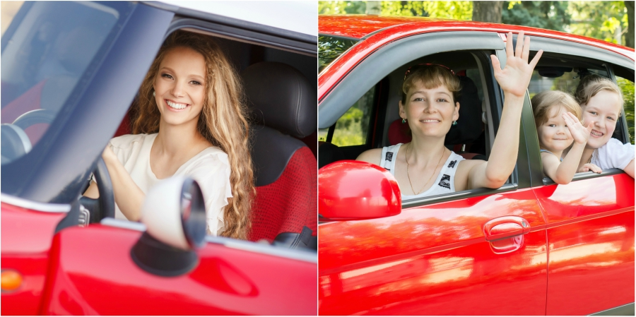 A red car with a teen girl and a red car with a family in it