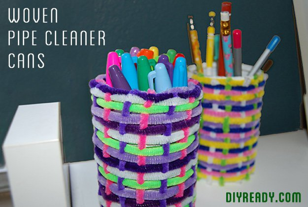 woven pipe cleaner pencil cans