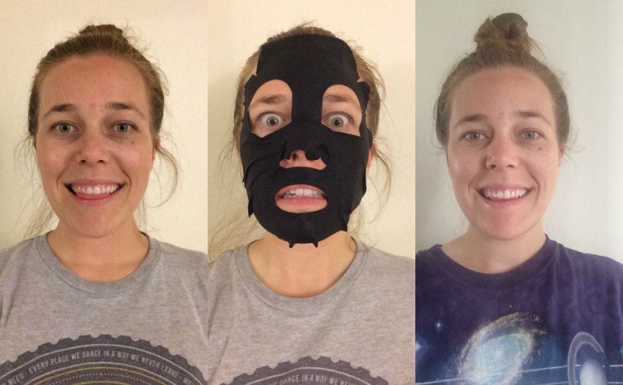 Before, during and after photos of using Yes to Tomatoes Detoxifying Charcoal Paper Mask