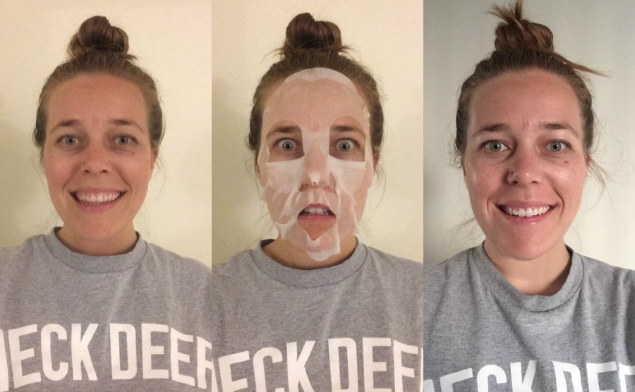 Before, during and after shot of using a yes to tomatoes facial mask