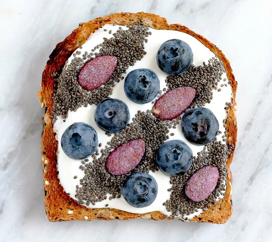 Blueberry, yogurt and chia seeds toast