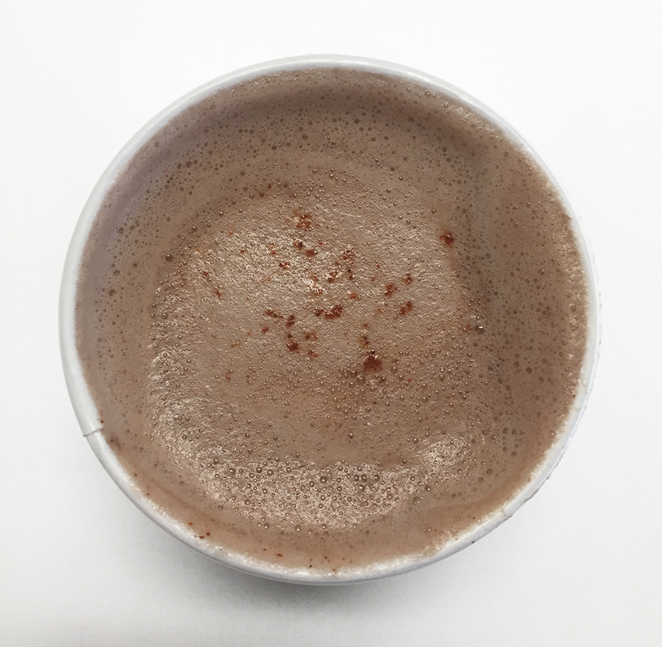 Top view of Starbucks chile mocha steamer