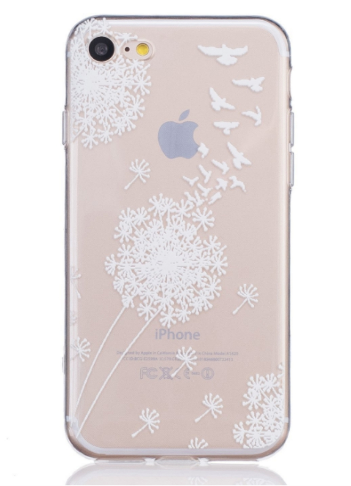 Clear iPhone 7 case with a dandelion and bird design