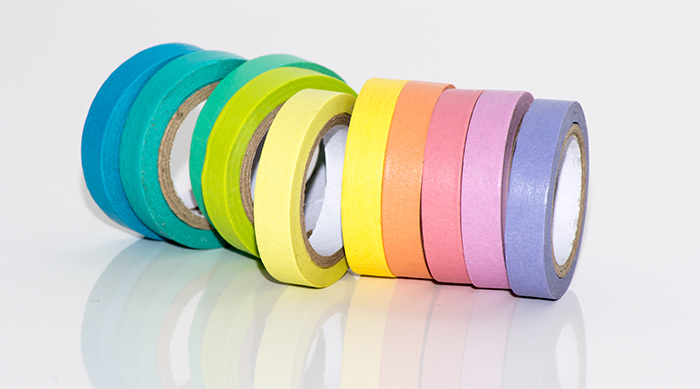 A line of colorful duct tape