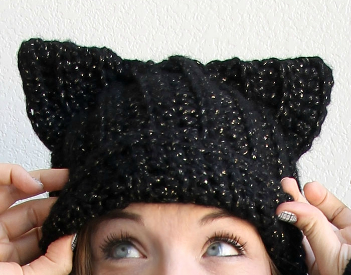 DIY crocheted black cat ear slouchy beanie