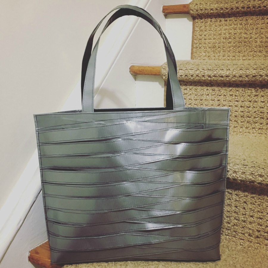 A bag made out of duct tape