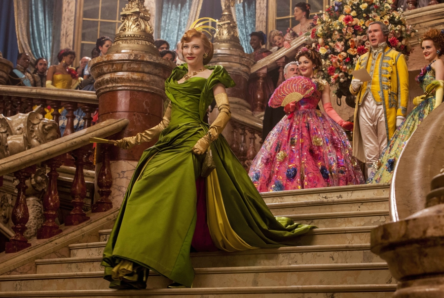 Still of Evil Stepmother from 2015 Cinderella descending stairs