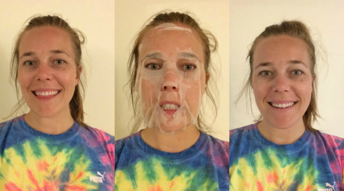 Before, during and the morning after using the Yes to Grapefruit Pore Perfection Paper Mask
