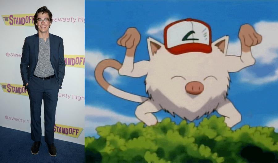 Joey Bragg side by side with Mankey Pokémon