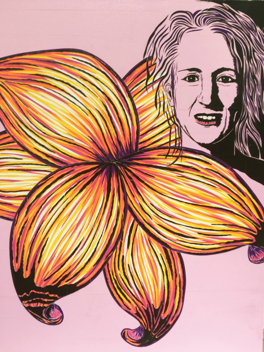 Duct tape portrait with a lily flower