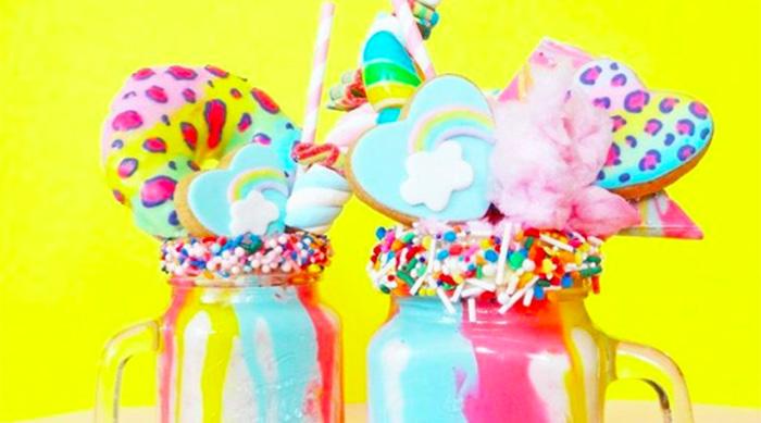 Lisa Frank inspired milkshake