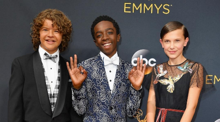 Stranger Things cast on the red carpet at 2016 Emmy Awards