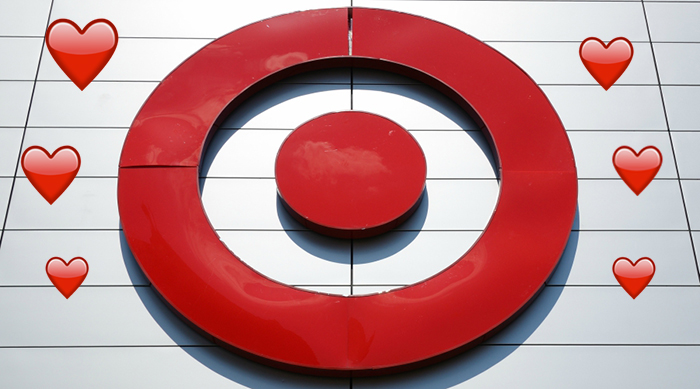 Target store logo with hearts