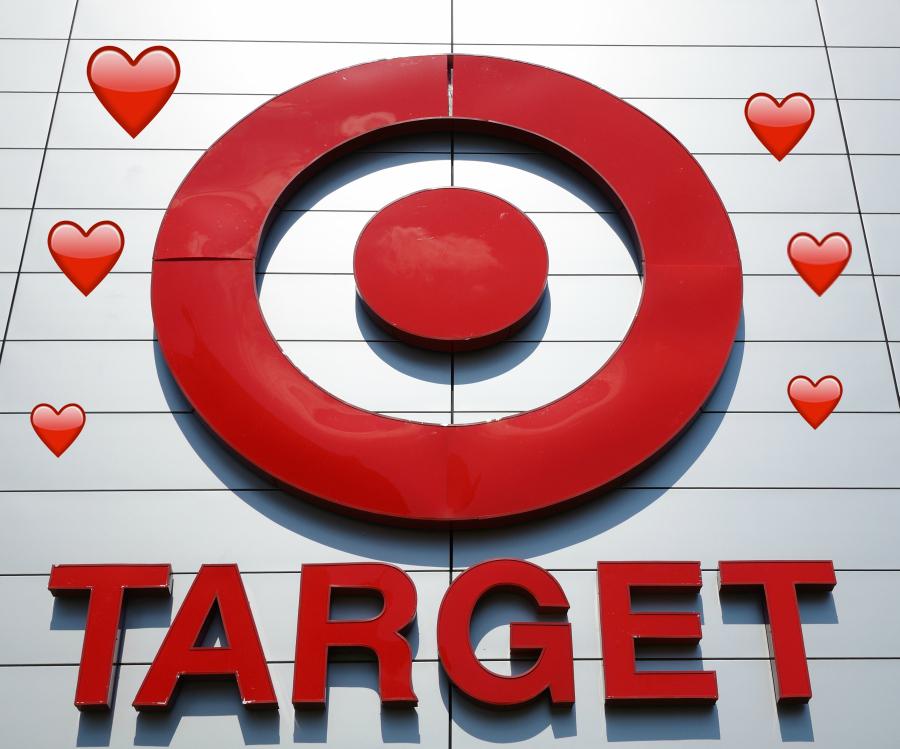 Target store logo with emoji hearts surrounding it