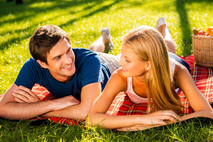 Guy and girl on a picnic together