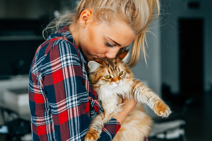 Blonder girl wearing plaid kissing her fluffy cat on the top of the head