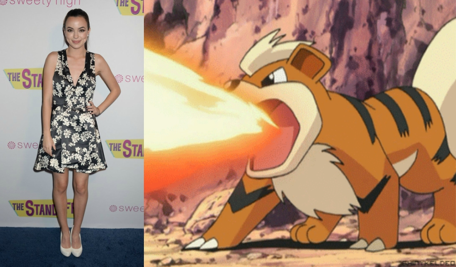 Vanessa Merrell side by side with Growlithe Pokémon