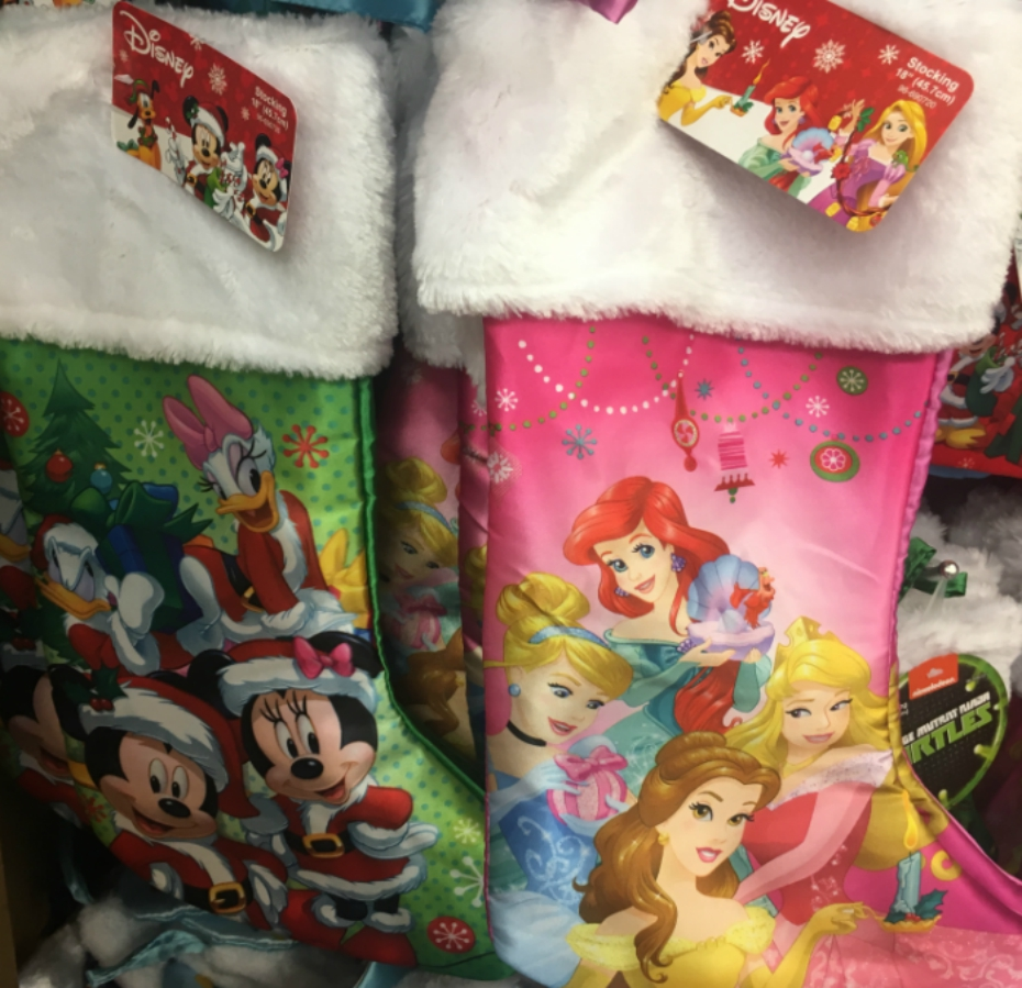 disney princess and mickey and minnie holiday stockings from the dollar store - 99 Cent Store Christmas Hours