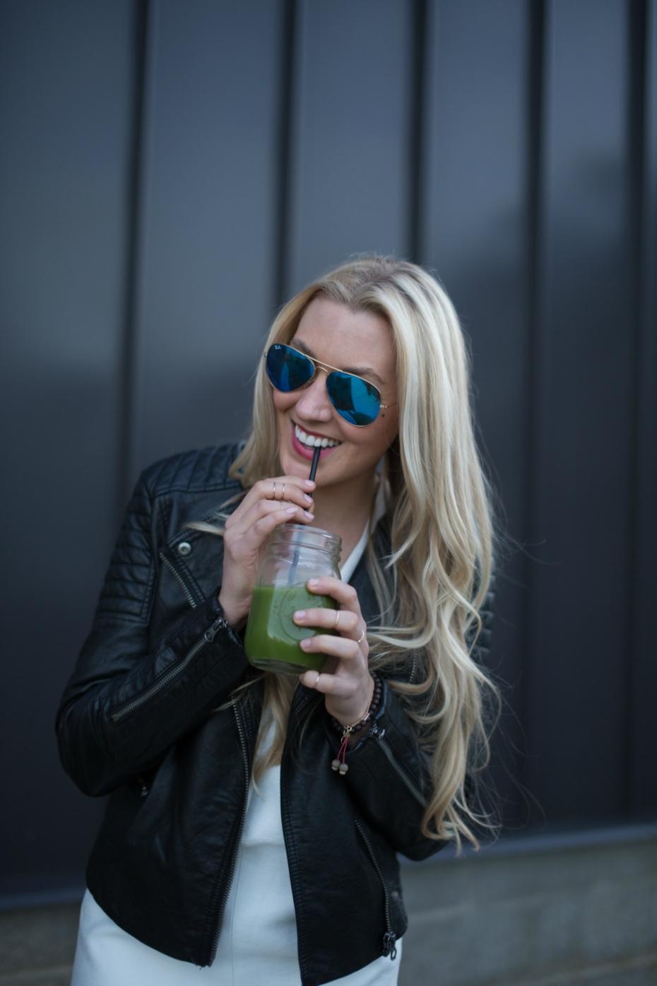 McKel Hill drinking smoothie