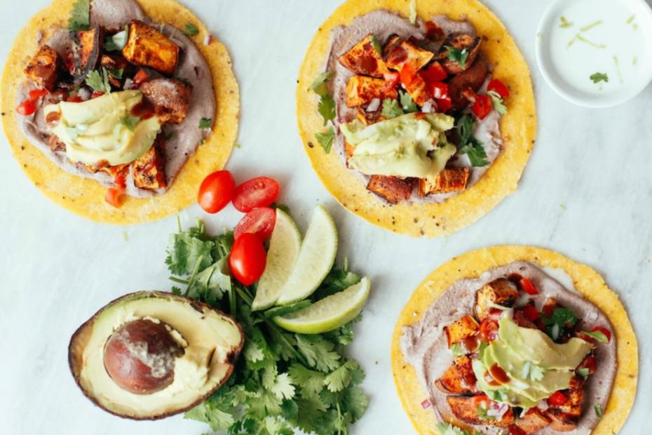 Pecan tacos with avocado