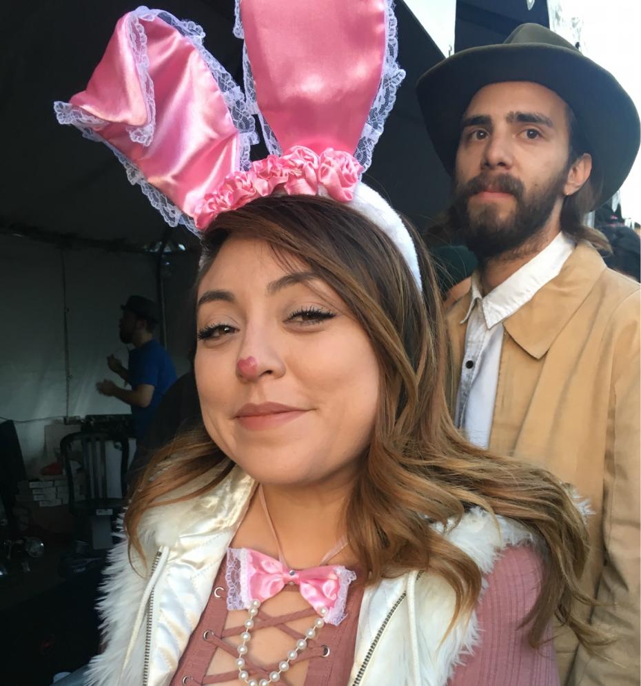 Rabbit costume at Goth Beach music festival