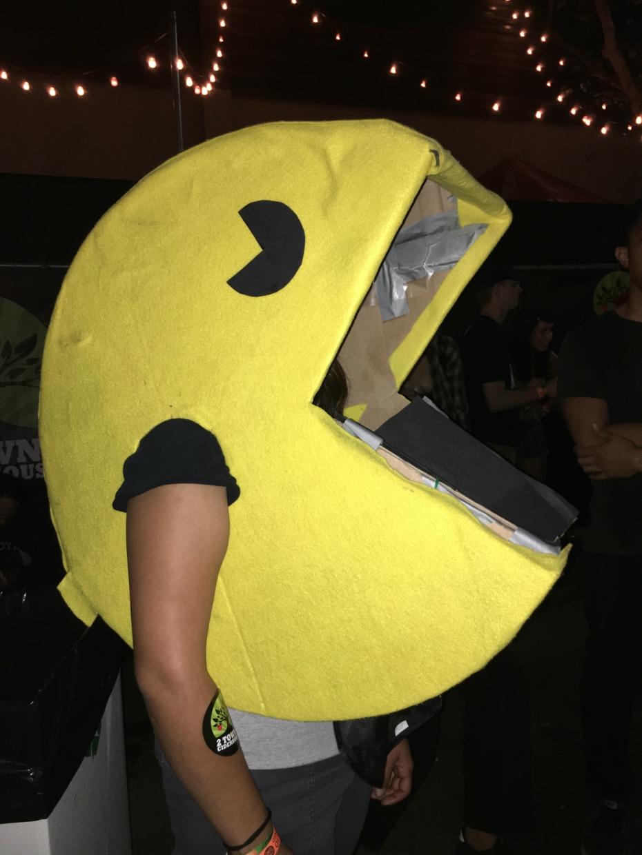 PAC-MAN costume at Goth Beach music festival