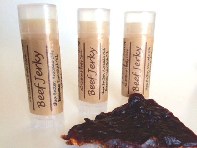 Beef jerky-flavored lip balm tubes