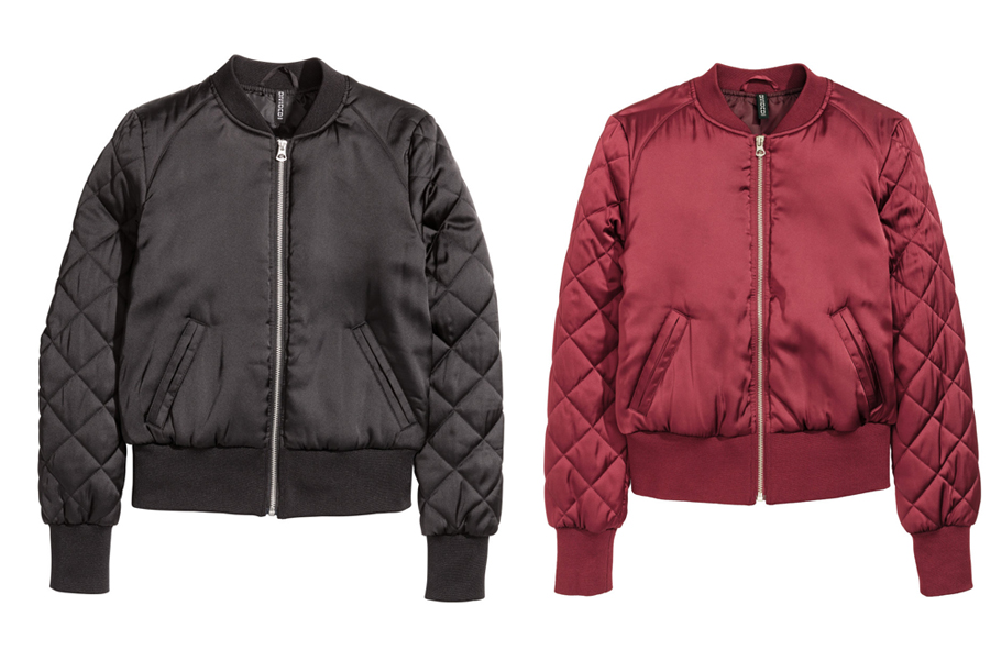 Red bomber jacket quilted