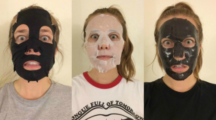 Girl wearing three different charcoal facial masks