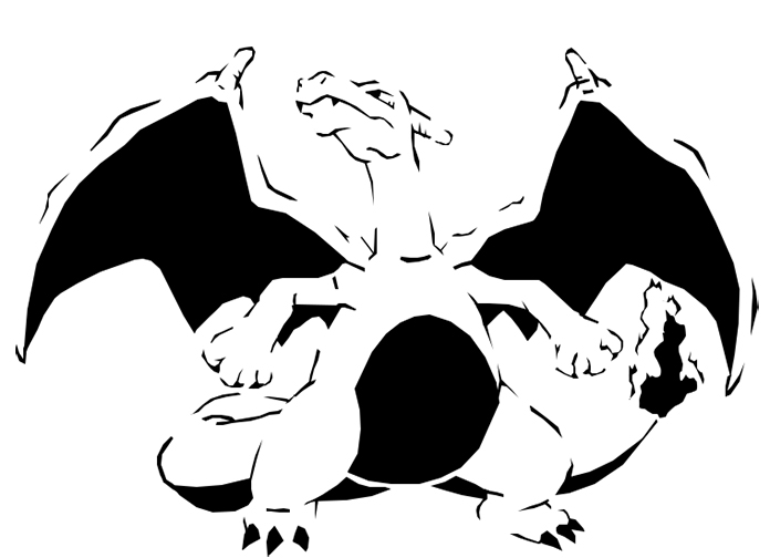Charizard Pokémon pumpkin carving stencil