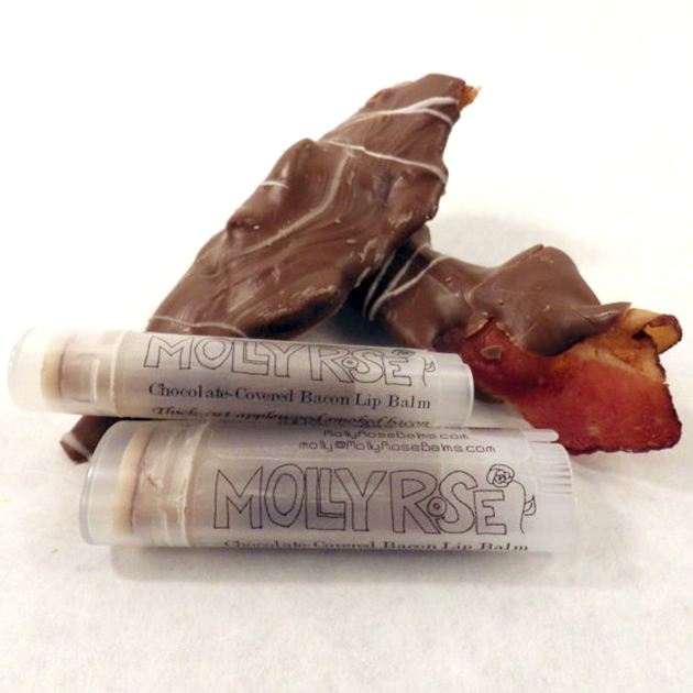 Chocolate-covered bacon flavored lip balm tubes