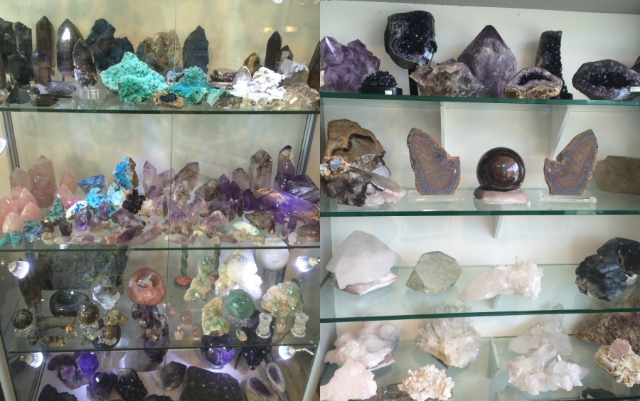 Different types of crystals stacked on shelves