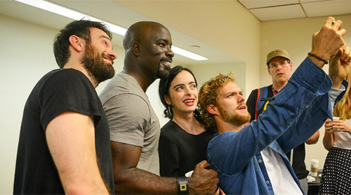 Marvel's Defenders cast selfie with Finn Jones, Mike Colter, Charlie Cox and Kristen Ritter