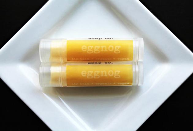 Eggnog-flavored lip balm tubes
