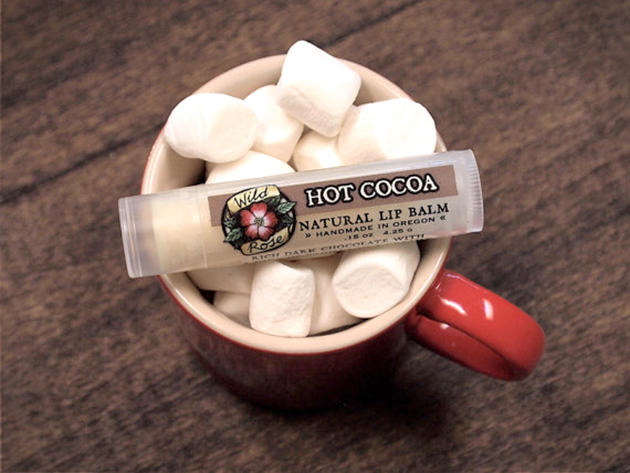 Hot cocoa-flavored lip balm tubes