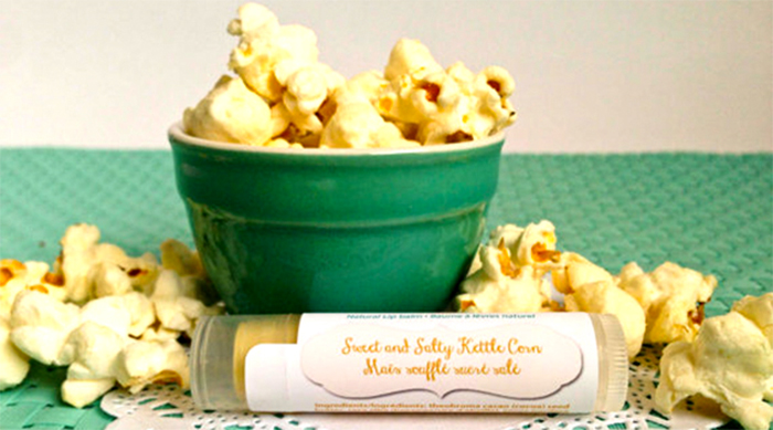 Sweet and salty kettle corn-flavored lip balm tubes