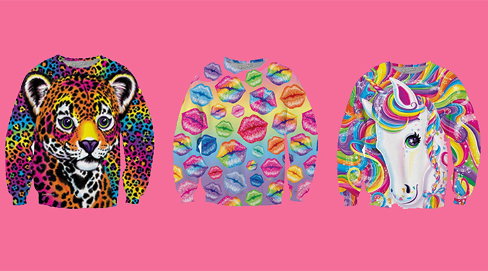 Lisa Frank sweatshirts on a pink background
