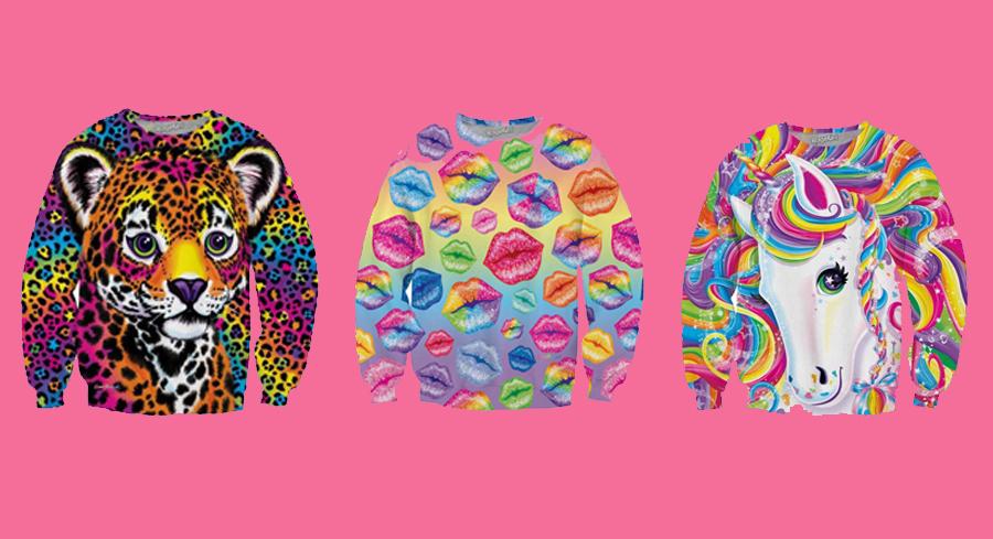 Lisa Frank sweatshirts on a pink background
